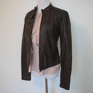 Brown Faux Leather Moto Jacket Size Medium